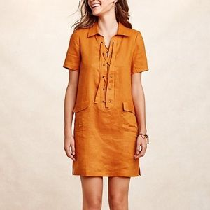 Anthropologie • Maeve Linen Lace Up Dress